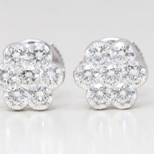 18K White Round Diamond Studs 1.45 Ct C19000274